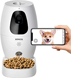 HONGSA Smart Pet Camera with Treat Dispenser & Tossing, Dog Cat Camera, 2.4G WiFi, 1080P Night Vision Camera, Live Video, 2 Way Audio Communication Designed for Dogs and Cats