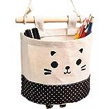 Doitsa bolsa de almacenamiento colgante modelo de oso marrón cesta bolsa de almacenaje bolsa organizador de pared para dormitorio/cuarto de baño/cocina/oficina Size 13,5X 15CM negro
