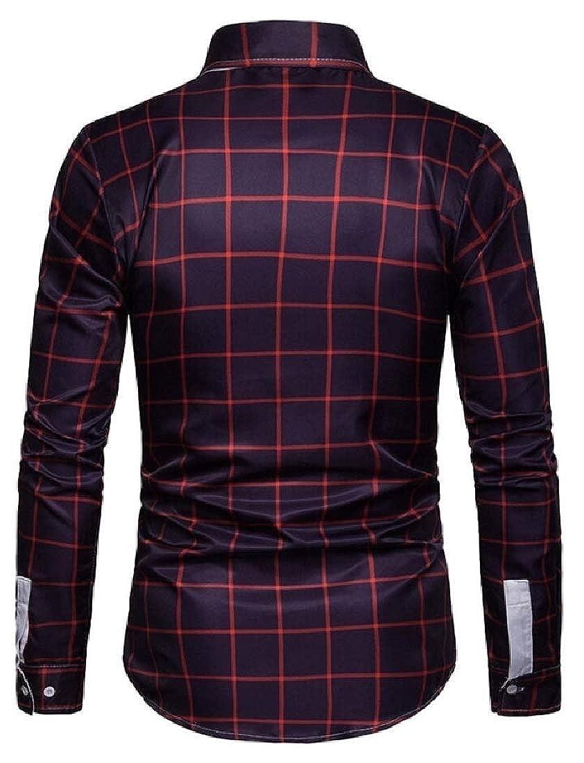 omniscient Mens Button Down Dress Shirt Long Sleeve Cotton Plaid Slim Fit