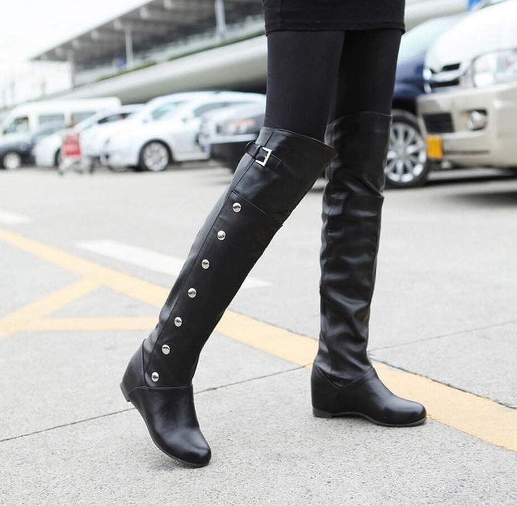 Hoxekle Woman Over The Knee Boot Rivet Buckle Height Increasing Slip On Round Toe Ladies Cool Motorcycle Long Boot
