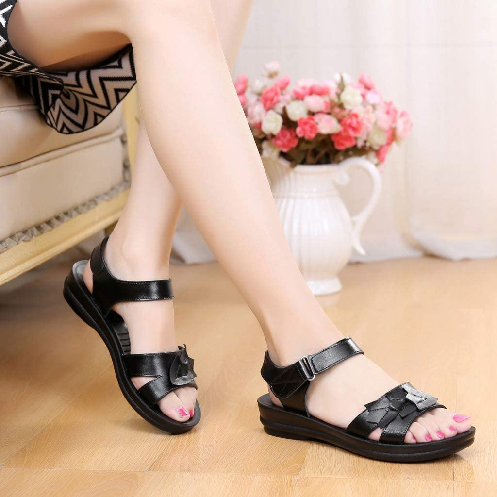 LOVOZO 2019 New Womens Ladies Mother Leather Flat Soft Beach Sandals Roman Shoes Footwear