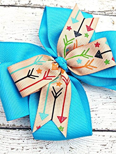 Turquoise and Khaki Multi Colored Arrow Arrows Hair Bow, 4 Inch Layered Boutique Hair Bow, Headband or Hair Clip