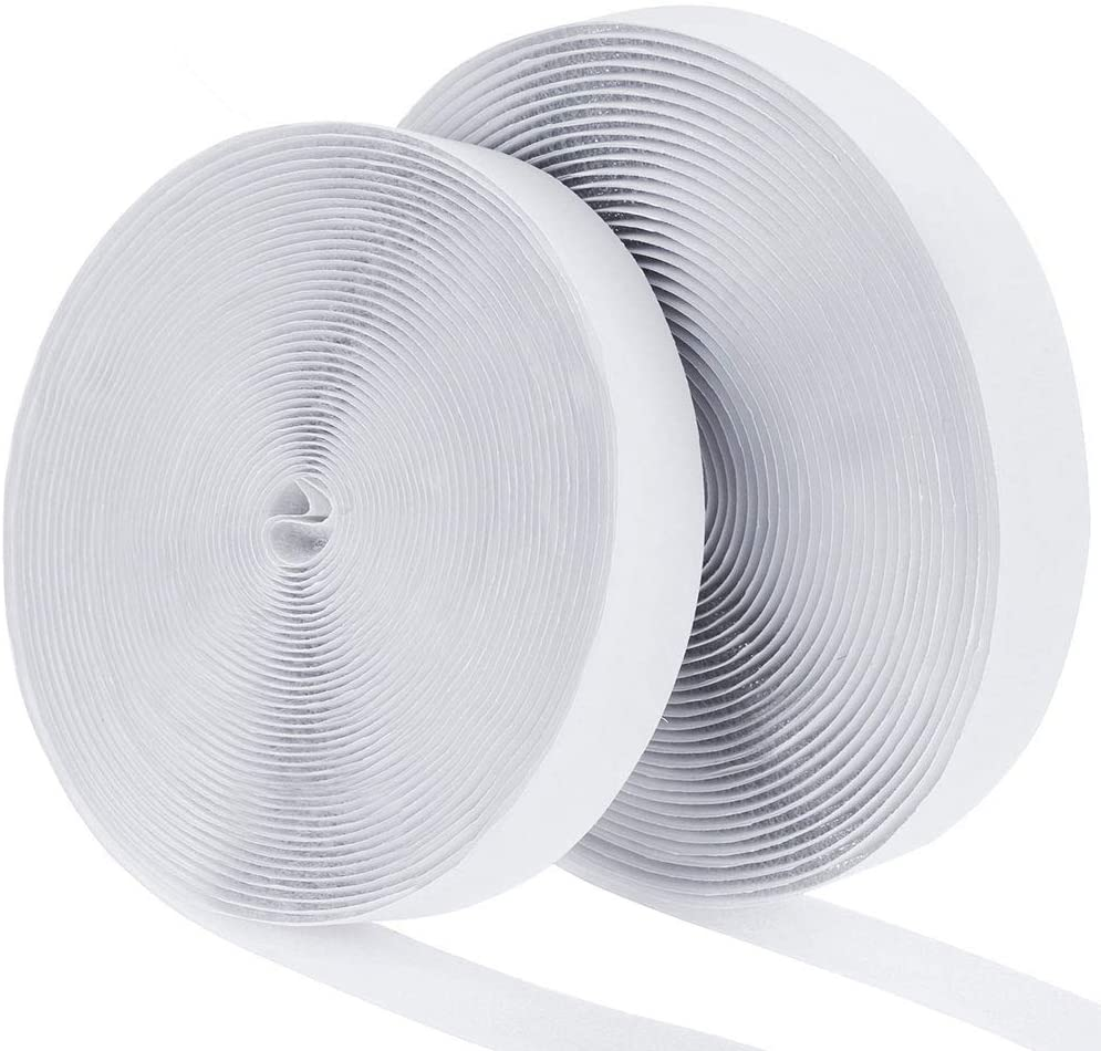 41 Ft x 1 Inch Adhesive Hook and Loop Tape Roll White Crafting,DIY,Home Hompie Self Back Sticky Fastening Strips Fabric Fastener Mounting Patch for Sewing