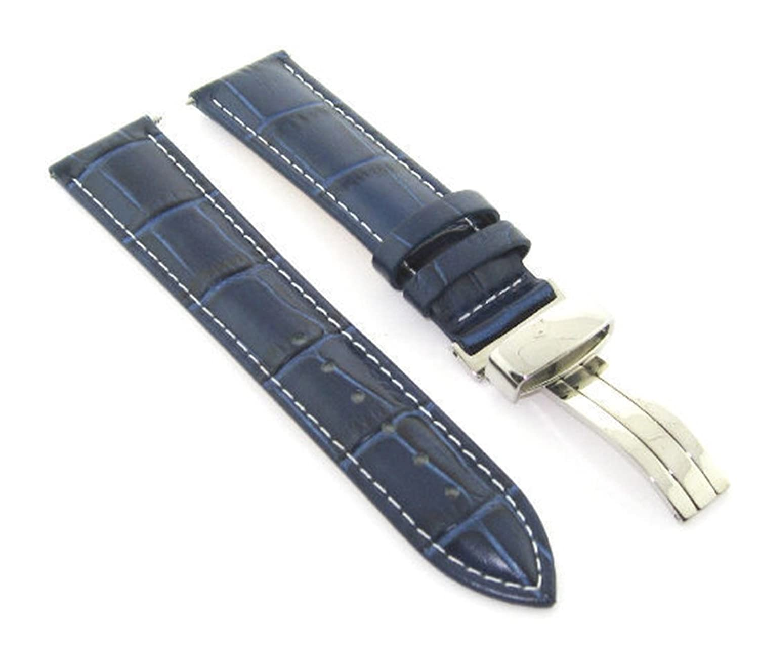 17 – 18 – 19 – 20 – 21 – 22 – 23 – 24 mmレザーバンドストラップ導入Clasp for emporio armani # 1 20mm Blue with white stitching  Blue with white stitching 20mm B07DHMHTDS
