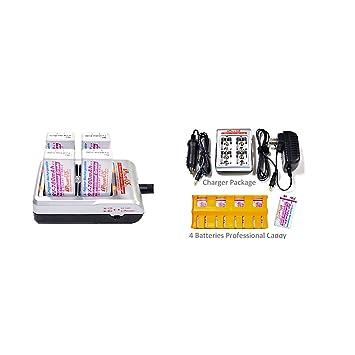 Amazon.com: iPower 4 Bay batería de 9 V Cargador con 4 – 9 V ...