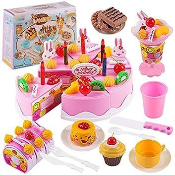 Nikgic - Corte Juguete Niños Plástico Pastel de cumpleaños de Juguete Alimentos Juguete Set Adecuado para Niños y Niñas Diy75 Accesorios Juguetes de ...