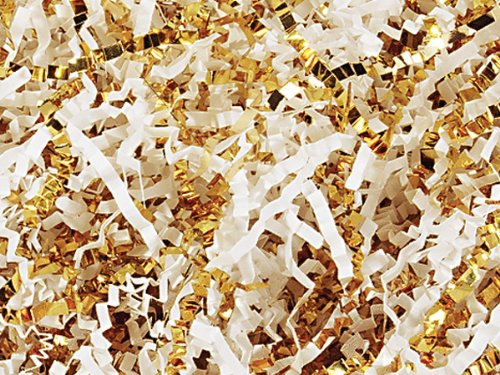 Crinkel Cut Gift Shred Filler - 10 LB - White and Gold by Nashville Wraps