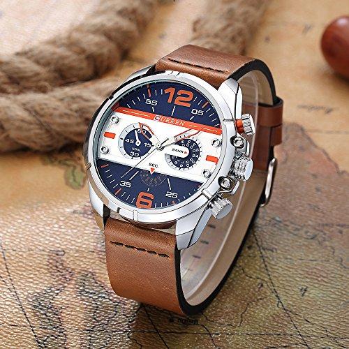 CURREN Original Brand Men's Sports Waterproof Leather Strap Wrist Watch 8259 Silver Brown Blue