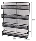 ESYLIFE 4 Tier Large Wall Mounted Wire Spice Rack Organizer, Black