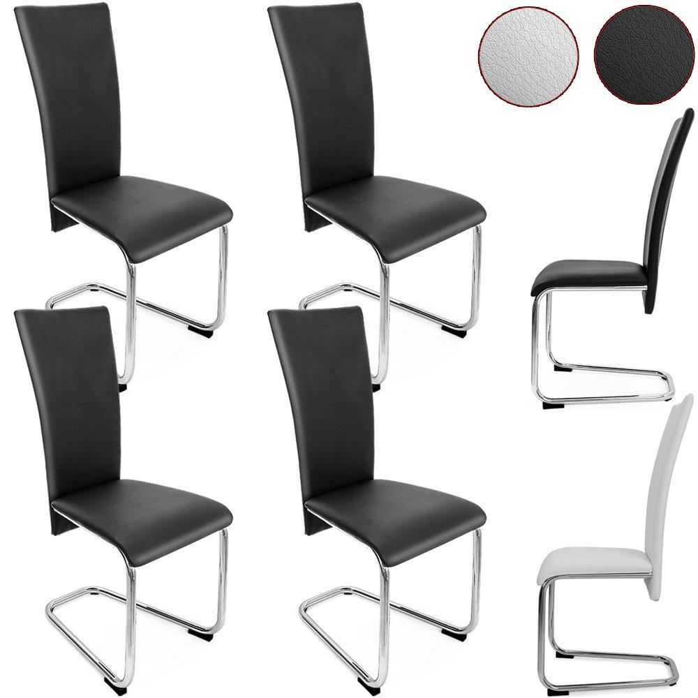4er SET Freischwinger Esszimmerstuhl Schwarz   Stühle Sitzgruppe Esszimmer  Stuhl