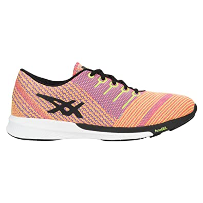 96751dd1fd62 ASICS Women s fuzeX Knit Running Shoe Flash Coral Black Safety Yellow 5 (S
