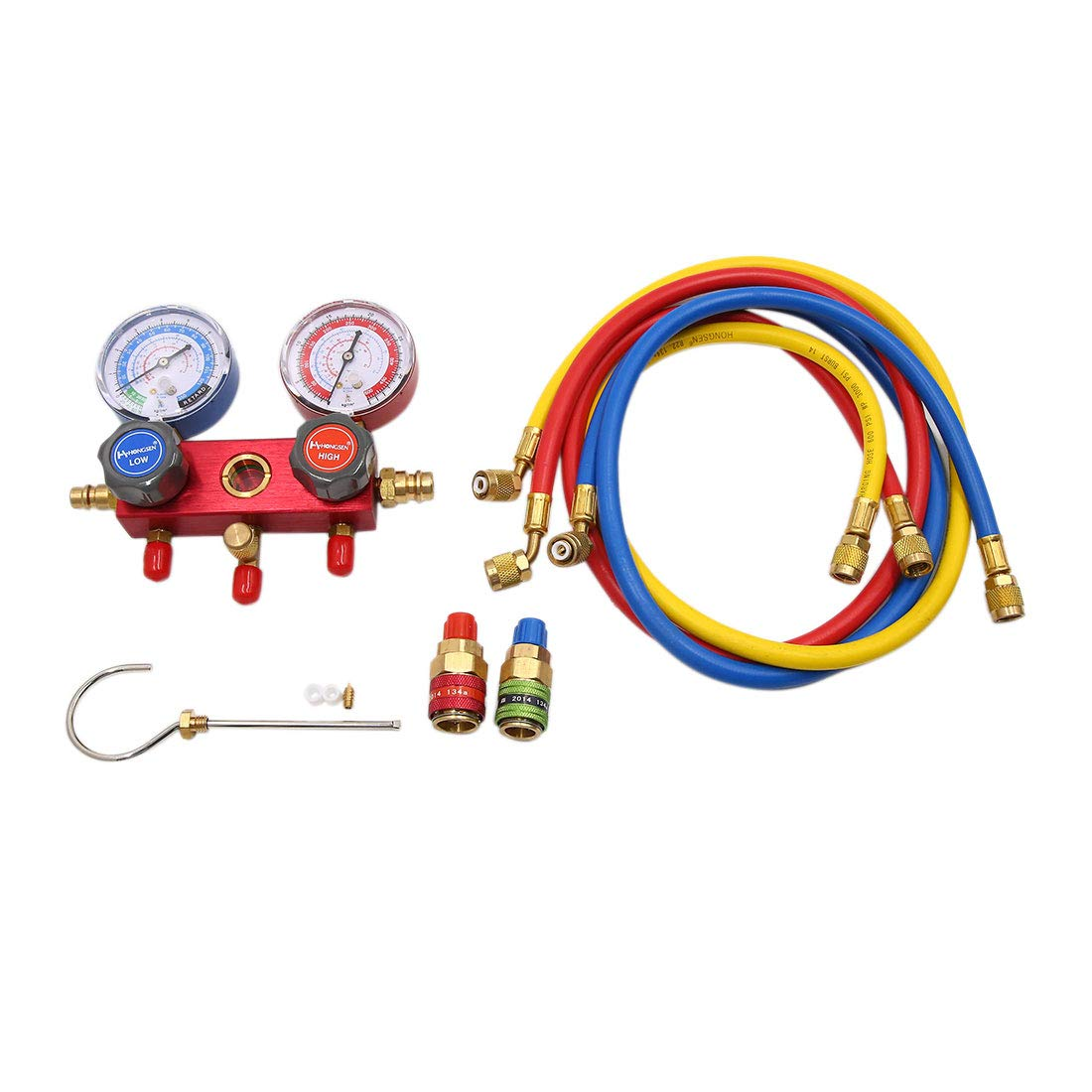 uxcell 3 Valve Manifold Dual Gauge Air Conditioner Pressure Tester Set for Auto Car