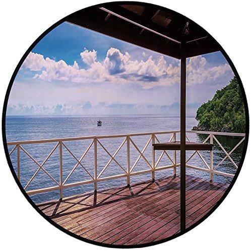 Printing Round Rug,Modern Decor,Balcony Porch Sea Ocean View in Trinidad and Tobago Island Tropic Photo Image Mat Non-Slip Soft Entrance Mat Door Floor Rug Area Rug For Chair Living Room,Multicolor (Acadia Rug Area)