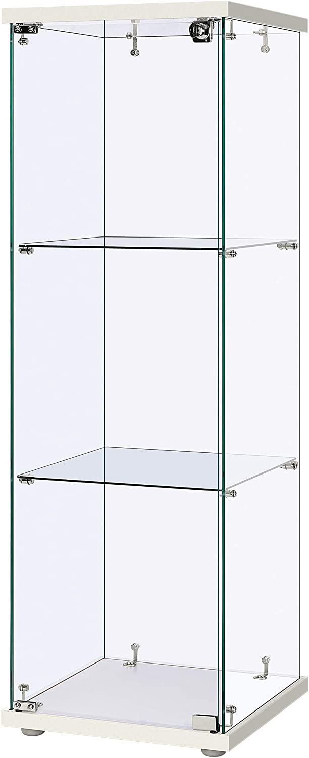 VIVOHOME 3 Layers 15.7''W x 15.7''D x 47.2''H Glass Countertop Display Showcase Cabinet Bookcase with 5mm Tempered Glass 25mm MDF Base