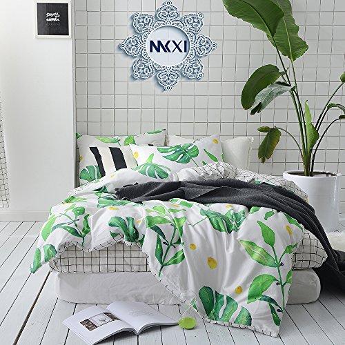 MKXI Soft Cotton Reversible Duvet Cover White Green Leaf Botanical Garden Bedding Set (Leaf Queen Duvet)