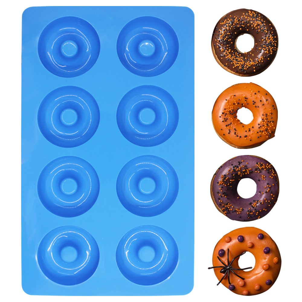 3 Pack Silicone Donut Molds, YuCool 8 Cavity Non-Stick Safe Baking Tray Maker Pan Heat Resistance for Cake Biscuit Bagels Muffins - Red, Blue, Yellow by YuCool (Image #8)