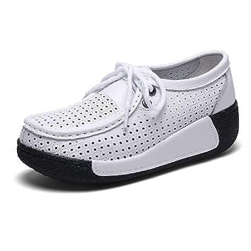 Qiusa Zapatos Transpirables Mujeres Ahuecar Mocasines de Plataforma de Cuero (Color : Blanco, tamaño : EU 36): Amazon.es: Hogar