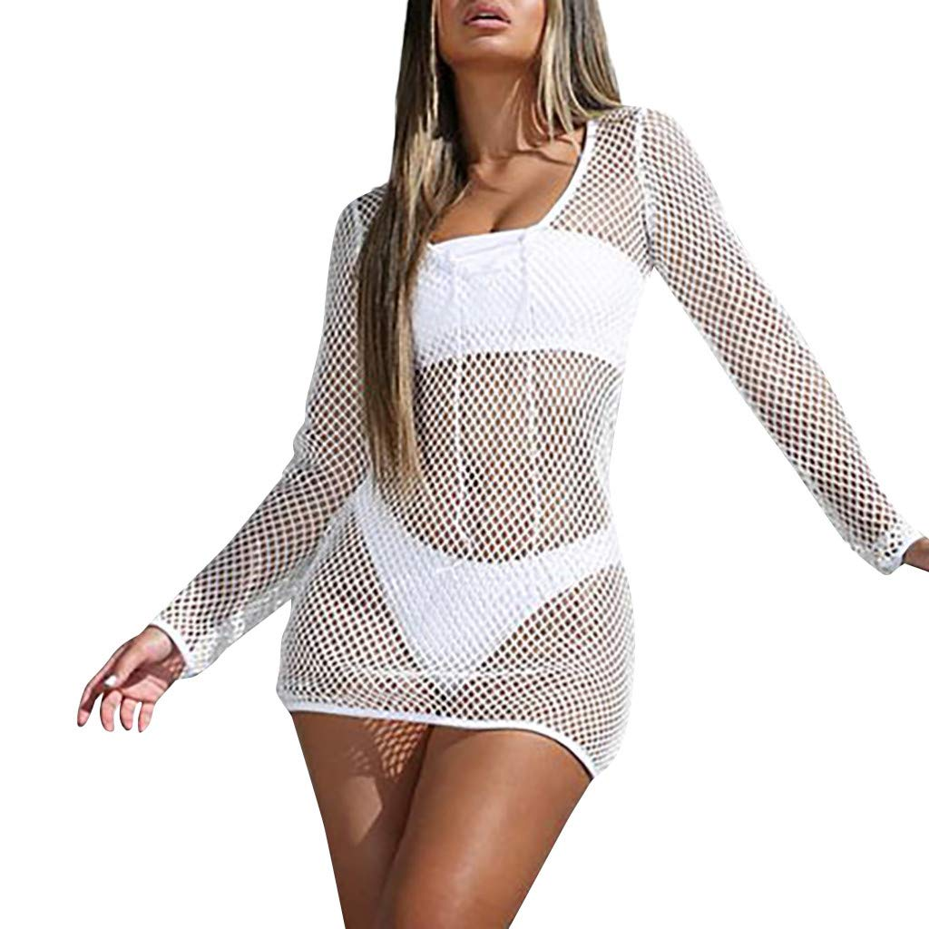 FEDULK Women Sexy Cover Up Long Sleeve Hollow Out Fishing Net Transparent Mini Dress(White, US Size L = Tag XL)