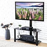 Fitueyes TV Entertainment Center Stand with Mount and Glass Shelves for Storage Fits 32-50inch TV,TW209001MB