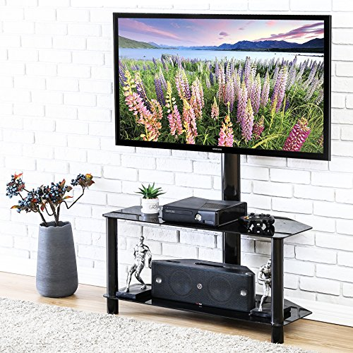 FITUEYES Universal Swivel Floor TV Stand with Mount Glass Shelf for 32 37 40 42 49 50 55 inch Tv TW209001MB