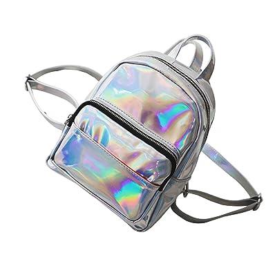 bf96ebfe2 BESTOYARD Holographic Backpack Hologram Satchel School Bag Shoulder Bag  Satchel Backpack (Sliver)