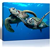 Purple Verbena Art 1 Panel Two Submarine Turtles Under The Sea Pictures Prints on Canvas Walls Paintings, Modern Seaview…