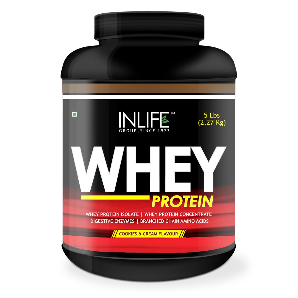 Inlife Whey Protein Powder (2.27kg, Cookies..