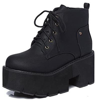 0837de5bbaeb IDIFU Women s Comfy Mid Chunky Heels Platform Lace Up Side Zipper Ankle  Boots Riding Booties (
