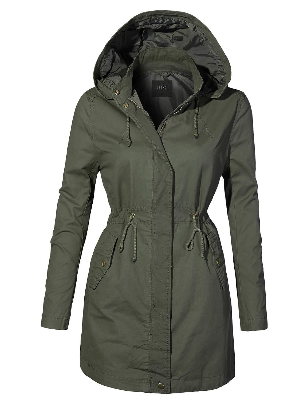 LE3NO Womens Fully Lined Oversized Long Anorak Parka Military Jacket Pockets