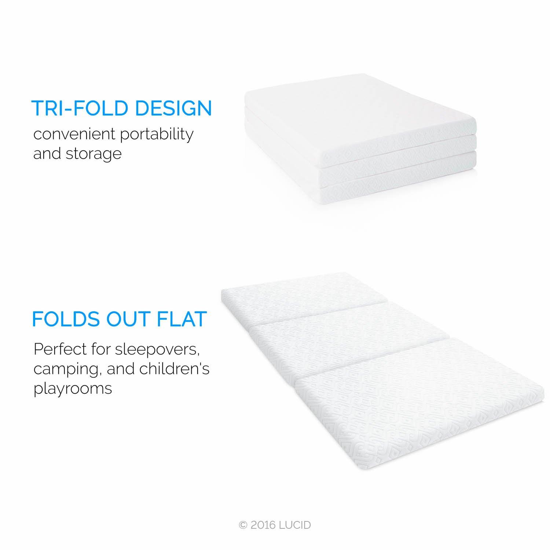 """Amazon Lucid 3"""" Folding Gel Memory Foam Mattress Twin"""