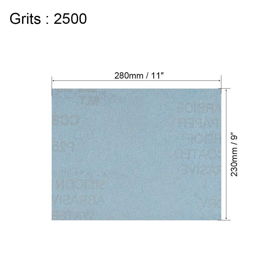 Lote de 10 hojas de papel de lija para muebles de madera 2500 Grits metal y pulido Sourcingmap