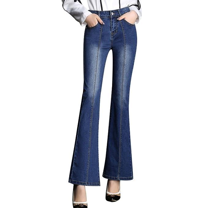 Jitong Mujer Vaqueros Acampanados Slim Fit Pantalones ...