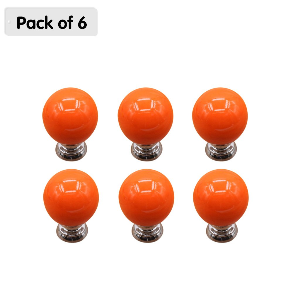 Zhi Jin 6Pcs Cute Cabinet Knobs Handle Round Ball Drawer Knob Pulls Set for Kids Kitchen Cupboard Orange