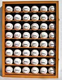 Walnut Shadow Box Wall Cabinet To Hold 48 Baseball Display Uv Protection Door