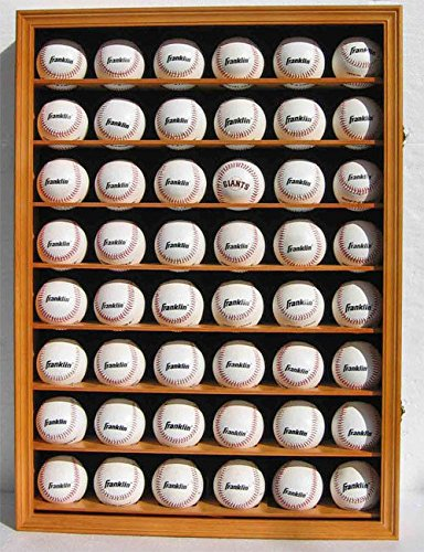 Walnut Shadow Box Wall Cabinet To Hold 48 Baseball Display Uv Protection Door by Display Case