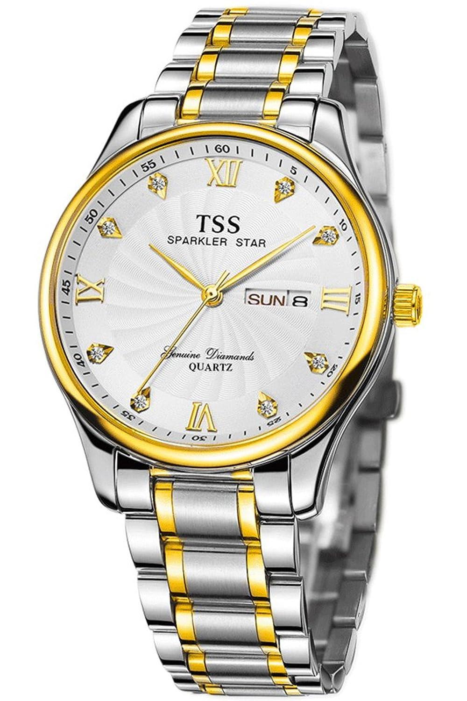 TSS Herren-t6011h1 Quarz Ultrathin Zwei Ton Armbanduhr mit Edelstahl Band