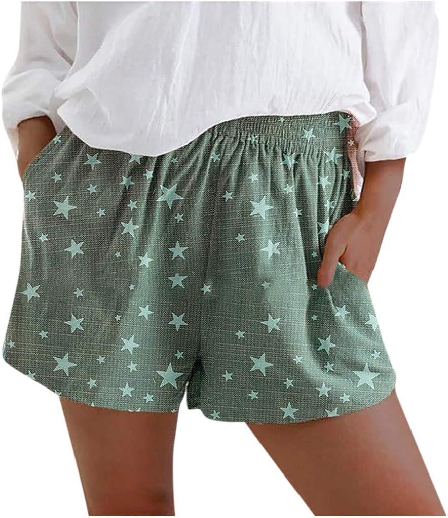 Pantalones Cortos Mujer Verano Playa,Moda Pantalones Cortos De Verano para Mujer Pantalones Cortos De Lino con Estampado De Estrella Casual Bolsillos De Lino