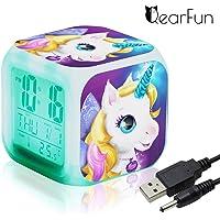 QearFun Unicornio Despertador Infantil Relojes de Alarma Digitales