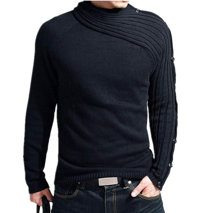 Morbuy Suéter Hombre Invierno, Manga Larga Suéter Blusa Delgado Jersey de Punto Caliente Sudaderas de