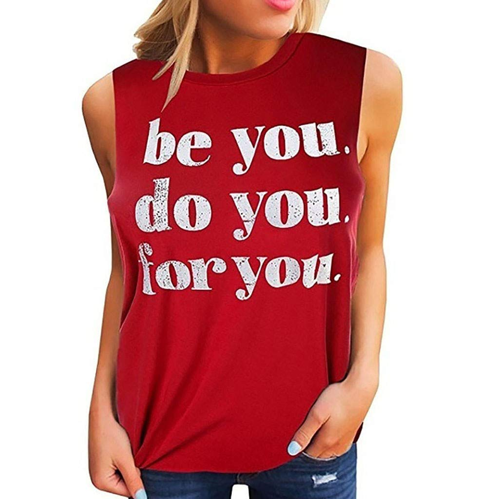 Garish Women's Cusual O-Neck Tank Top,Fashional Letter Print Camisole, Daily Style Activewear Wine