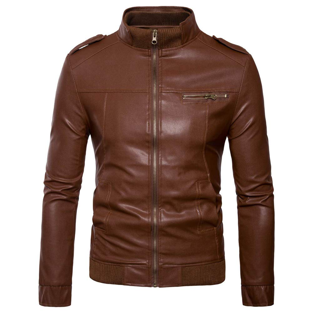 Rambling New Men's Autumn Winter Casual Long Sleeve Solid Stand Zipper Leather Jacket Top