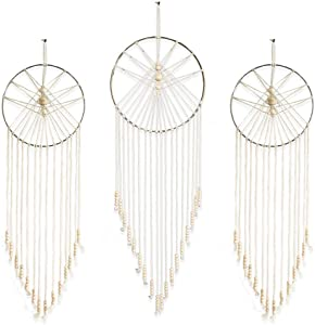 23 Bees, Macrame Wall Hanging Dream Catcher, Large Handmade Crochet Decor for Bedroom, Big Woven Boho Tapestry Dreamcatcher, Chic Rope Art Decorations for Room (Sun 3pk)