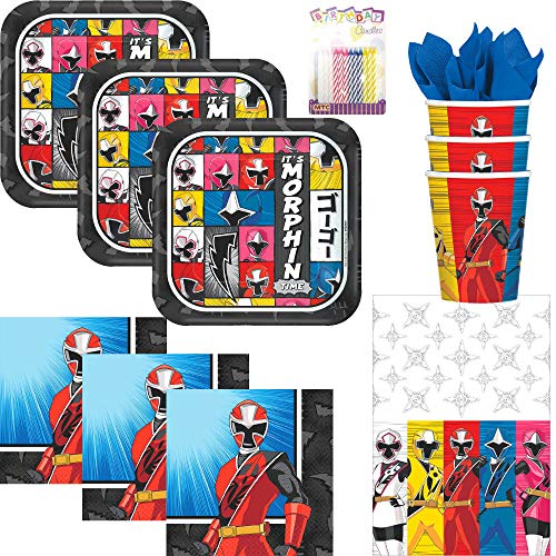 Power Rangers Birthday Party Ideas (amscan Power Rangers Ninja Steel Party Supplies Pack Serves 16: Dessert Plates, Beverage Napkins, Cups, Table Cover and Birthday Candles - (Bundle for)