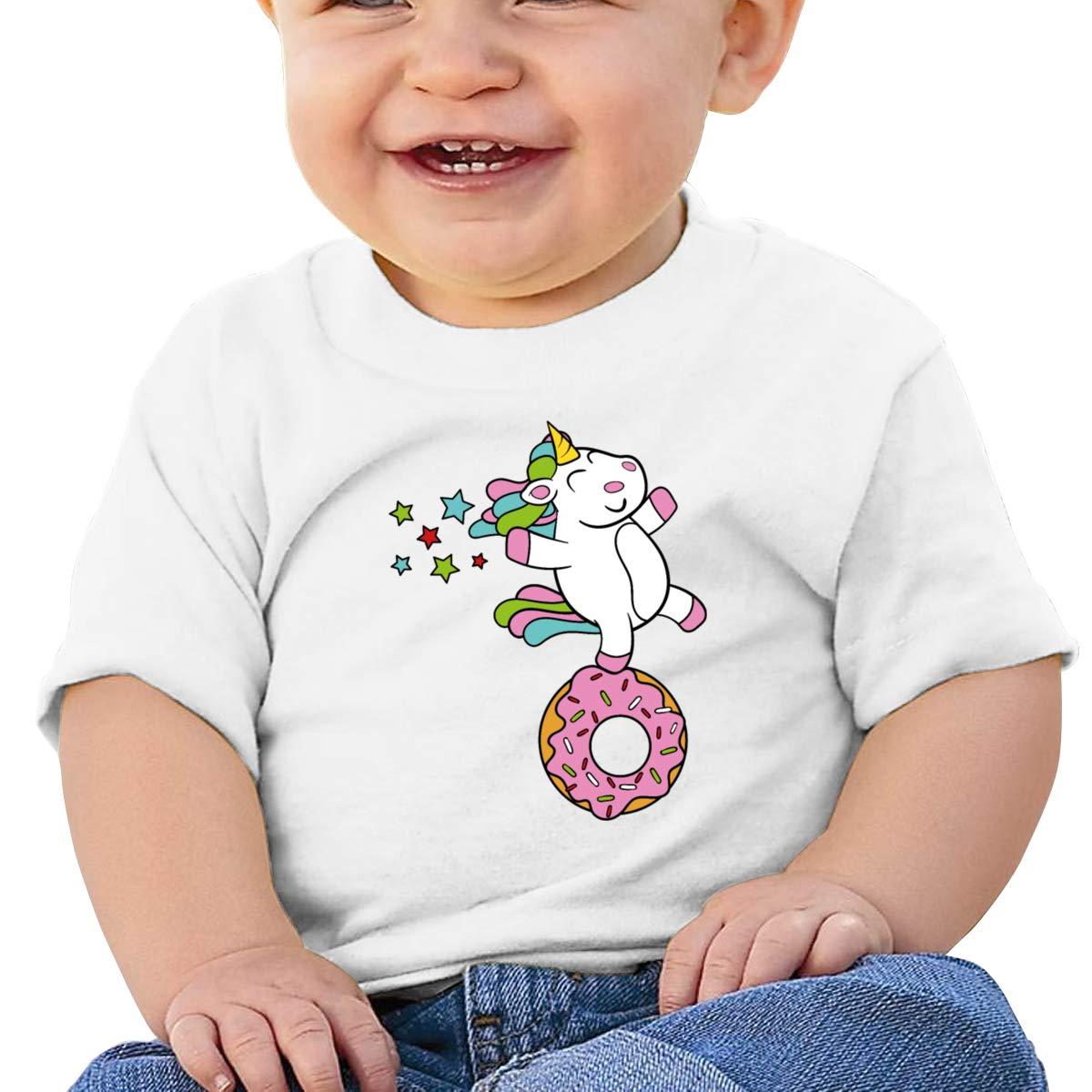 Happy Unicorn On A Donut Short Sleeves Tshirt Baby Girl