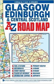 Glasgow Edinburgh Central Scotland K AZ AZ Road Map - Az road map