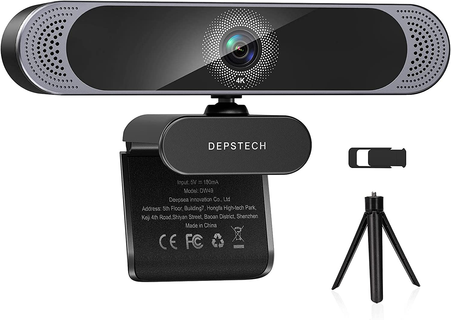 Webcam with Microphone, 2021 DEPSTECH 4K Webcam with Sony Sensor Autofocus Web Camera with Privacy Cover and Tripod, 8MP USB Webcam for Laptop PC, Streaming Webcam for Zoom, Skype, Facetime, YouTube