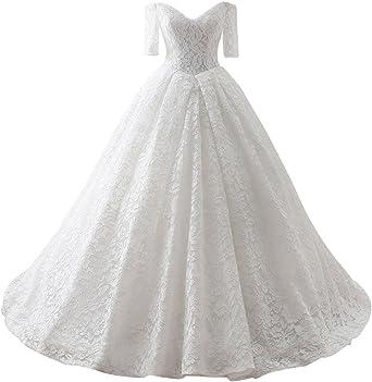 Amazon Com Maricopyjam Women S Floor Length Long Lace Pleated Ball Gown Wedding Dress With Half Sleeves Clothing