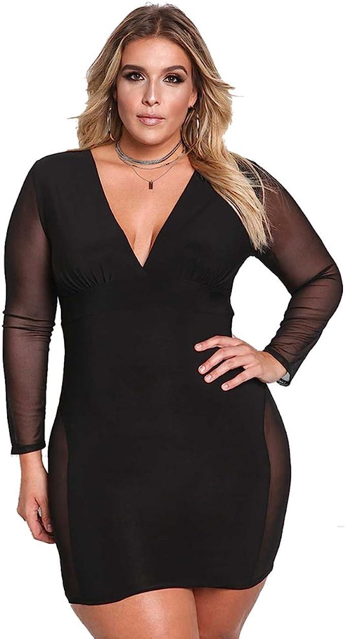 ROSIANNA Women\'s V-Neck Lace Mesh See Through Perspective Bodycon Mini  Short Plus Size Dresses