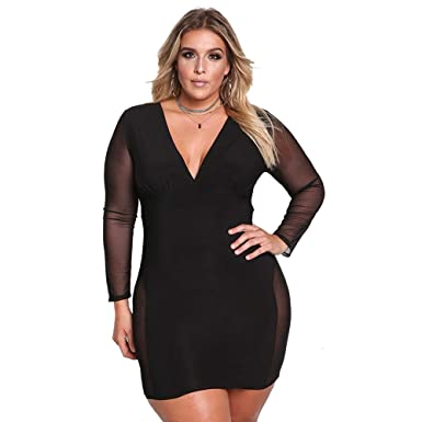 ROSIANNA Women\'s V-Neck Lace Mesh See Through Perspective Bodycon ...