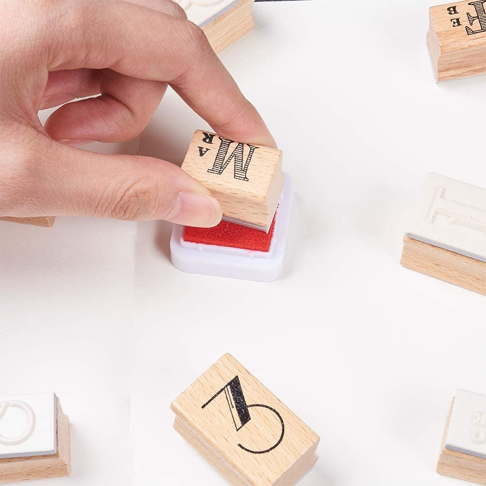 Assorted 10 PCS Number Stamps and 12 PCS Month Abbreviation Letter Stamps NBEADS 1 Set 22 PCS Vintage DIY Rubber Stamps for DIY Scrapbooking Arts Crafts Making Cards Stamp Seal Photo Album Decor